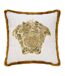Medusa Logo Cushion - 45cm x 45cm - White/Gold