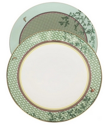 Lattice And Garden dessert plate set