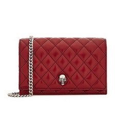 Mini dark red quilted leather cross-body bag