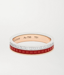 Quatre Red Edition 18-karat rose and white gold, ceramic and diamond ring
