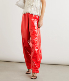 Crinkled glossed-leather wide-leg pants
