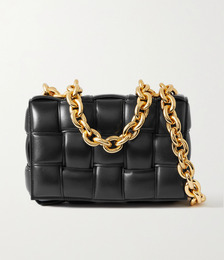 Cassette chain-embellished padded intrecciato leather shoulder bag
