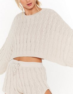 Got Cable Knit Jumper and Shorts Lounge Set