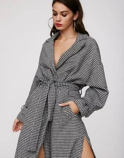 Rain Check Houndstooth Longline Coat