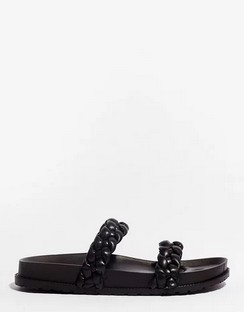 World At Your Feet Faux Leather Braided Sandals
