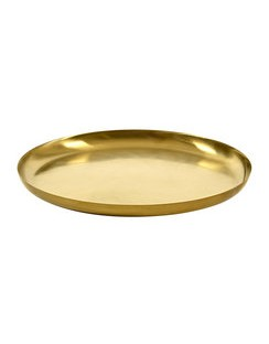 Brushed Steel Gold Serving Dish - Small