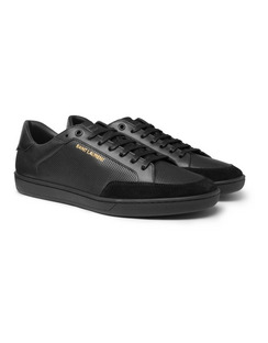 SL/10 Suede-Trimmed Perforated Leather Sneakers
