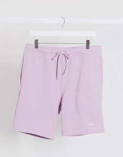 Signature Pull on Jersey Shorts in Lilac