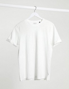 Organic Slub T-shirt with Roll Sleeves in White
