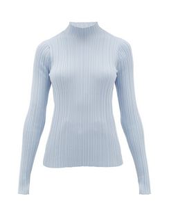 Katina High-Neck Ribbed Cotton-Blend Sweater