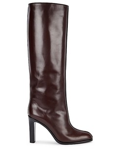 Plum Leather Knee-High Boots