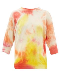 Cropped-Sleeve Tie-Die Wool Sweater