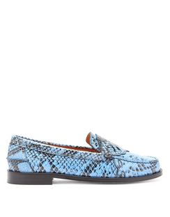 Python-embossed Patent-leather Penny Loafers