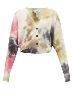 Cropped Tie-die Wool Cardigan