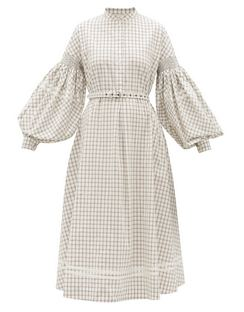 Puff-sleeve Checked Cotton-poplin Midi Dress
