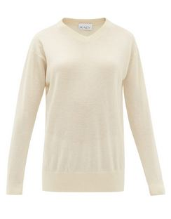High V-neck Fine-knit Cashmere Sweater