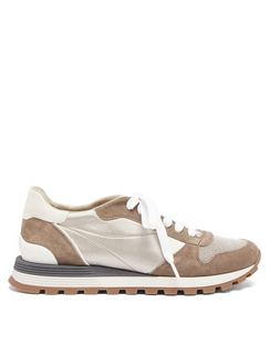 Monili-chain Suede and Satin Trainers