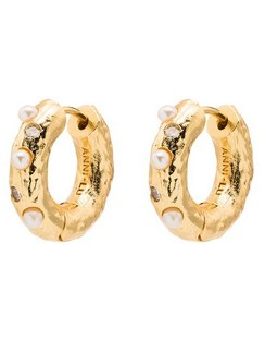 18kt Gold-plated Pearl-embellished Hoop Earrings