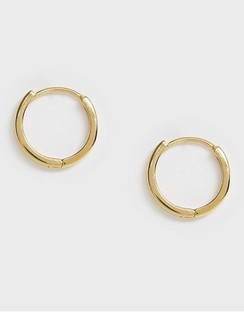 Sterling Silver Chunky Hoop Earrings in 14k Gold Plate