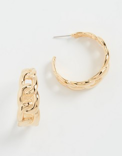 Polished Gold Link Hoop Earrings
